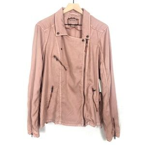 Anthro Marrakech Ronika Draped Moto Pink Jacket